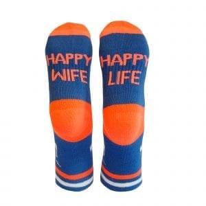 tursokker morsomme sokker happy wife oransje bla