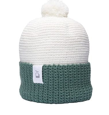 LQ Crochet Beanie White Forest green