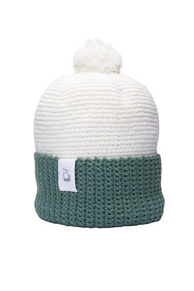LQ Crochet Beanie White Forest green